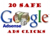 provide 20 Safe Adsense Ads Clicks daily for 10 days