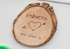 carve your name on a wooden piece