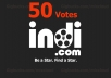 add 50 votes Indi for your contest