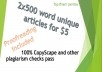 write 2x500 word articles
