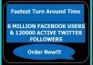 promote Website Or Ads To 5000000 Facebook User and 120000 Twitter Followers