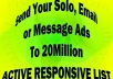 send Your Solo, Email Or Message Ads To 20 MILLION Active Responsive List