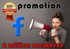 promote your link among 2000000 members in Facebook