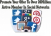 promote your Offer to over 20 Million Top Active Social Media Network Members