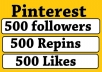 provide 500 Real Pinterest Permanent Followers,Repins,Likes