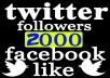 deliver Real 2000 plus Facebook Fan Page likes or twitter followers