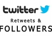 add 8000 Real Twitter Followers and 3000 retweets and 1000 favouries 3 in one