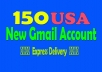 Give 150 USA new gmail accounts