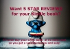buy and supply a 5 STAR verified review for your ebook