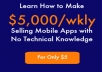 This is a short guide to get anyone started selling mobile apps. By following steps in this guide you can make as much as $5,000 weekly, selling mobile apps. And no you don't have to be a mobile app developer, or even have technical skills.  If you are looking for a business idea that has not yet been overly saturated, then the mobile apps industry is the way to go.   Get this guide for only $5, and start earning today!