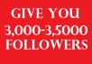give you 3,000 - 3,500 Twitter Followers Within 6-24 hours