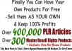 Give You over 300,000 PLR Articles, Hundreds of Adsense website templates and PLR/MRR ebooks within 24 hours