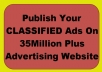 publish Your CLASSIFIED Ads On 35M Plus Advertising Website