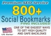 create 800 social bookmark SEO backlinks + ping in 24