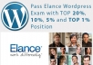 pass Elance WordPress Test with Top 1%, 5% or 10% Positions