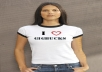 make beautiful girl wear t shirt of your name, business name or short message