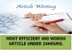 WRITE MOST EFFICIENT 400 WORDS ARTICLE UNDER 24HOURS.