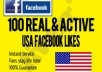 Give YOU USA USA 100+ Real Human Facebook Likes only