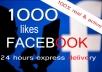 give 1,000 plus Facebook Fanpage likes