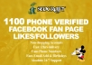 give 1100 Phone Verified Facebook Likes in 12hrs