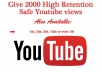 provide 2000 Quality or HR Youtube Views