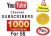 give you 1000 YouTube Subscribers within 6 days