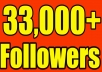 Give you 33,000+Super Fast Twitter Real Looking Followers