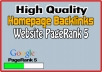 give Homepage Backlink on Website PR5
