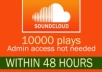 Do 10000 soundcloud plays Within 12 hours for