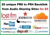 give 20 unique PR8 to PR4 Backlink from Audio Sharing Sites