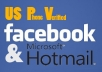 give you FACEBOOK & HOTMAIL accounts US PV
