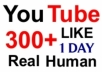 Give 300+ Real Human YouTube Likes within 24 hours