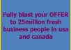 fully blast your OFFER to 25million fresh business people in usa and canada