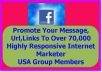 Advertise Your Message,Products or Website URL To 70,000 Affiliate Marketers In USA