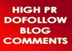 MANUALLY create HighPR 1PR7,4PR6,8PR5,8PR4,8PR3,8PR2,4PR1 blog comment DO-FOLLOW BackLinks