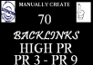 professsionally create Unique Content and Manually create 70 High Pr BACKLINKS