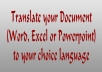 translate Your Document (Word, Excel, PowerPoint) To Your Choice Language
