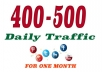 400-500 daily traffic REAL visitors for one month
