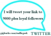 tweet promote your website or link to more than 9000 loyal followers 3 times