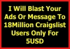 blast Your Ads Or Message To 18Million Craigslist Users