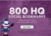 Add Your Site to 800 SEO Social Bookmarks High Quality Backlinks, rss and Ping