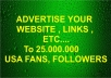 promote Your Any Link to 25,000,000 Facebook Fans 90k Twitter Followers Traffic
