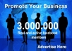 promote your LINK to 3 MILLION facebook members