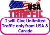 Give Unlimited Traffic only from USA & Canada