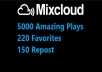 add 5000 Amazing Plays, 220 Favorites PLUS 150 Repost MixCloud