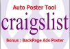 give Craigslist Auto Poster and Backpage ads tool