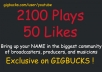 add 2100 Plays and 50 Likes SPREAKER Today