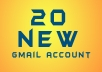 provide 20 new gmail