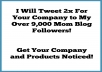 advertise for you by tweeting 2x to my over 9,000 mom blog followers on Twitter