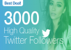 Easiest way to gain followers, the best deal on the market!  2000 High quality Twitter followers for you, fast delivery, satisfaction guaranteed :)  Best Deal on the market! No Password Access Required There is no risk for your account to get banned